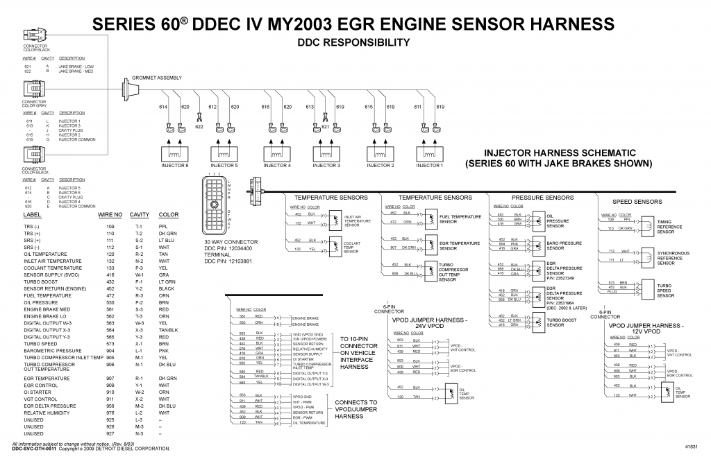 detroit diesel ddec iv series 60 my2003 egr engine sensor harness wiring  diagram