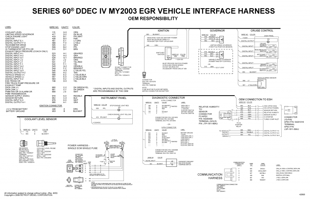 detroit diesel ddec iv series 60 my2003 egr vehicle interface harness wiring  diagram